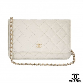 Chanel Ivory Quilted Caviar Leather Wallet On Chain